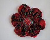 Christmas Red & Green Plaid Metallic 4 inch Fabric Flower Hair Clip