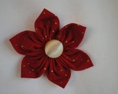 Christmas 3 1/2 inch Red with Gold Polka Dots Fabric Flower Hair Clip/Bow for Girls or Women