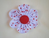 Christmas 3 inch White with Red Polka Dots Fabric Flower Hair Clip/Bow for Girls or Women