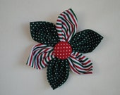 Christmas Red & Green Stripes and Swiss Dots 3 1/2 inch Fabric Flower Hair Clip/Bow for Girls or Women