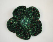 Christmas Holly Green & Red 4 inch Fabric Flower Hair Bow/Clip for Girls or Women