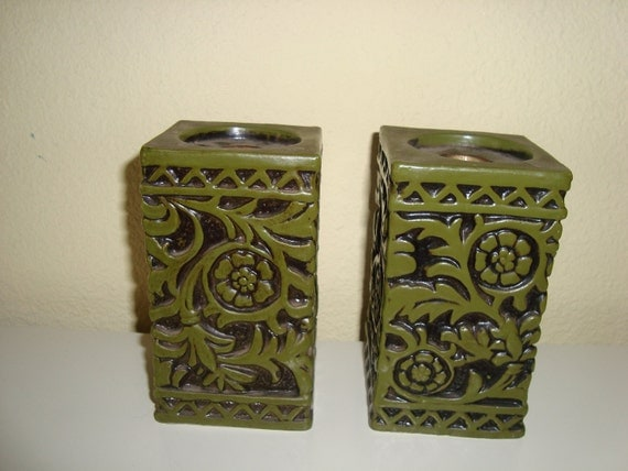 Pair Of Ornate Candle Holders - Avocado Green - Midcentury - Mad Men - Retro Home Decor