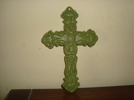 Just Reduced Cast Iron Ornate Cross  Painted Bright Green