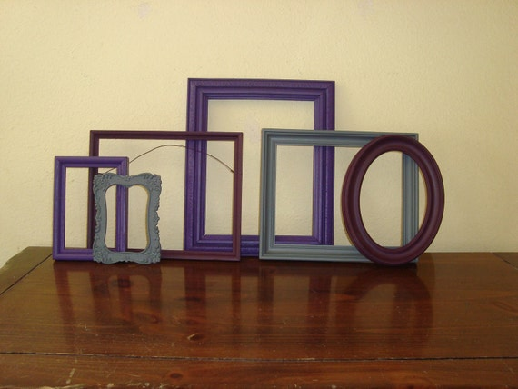 6 Purple  And Grey  Picture Frames Modern