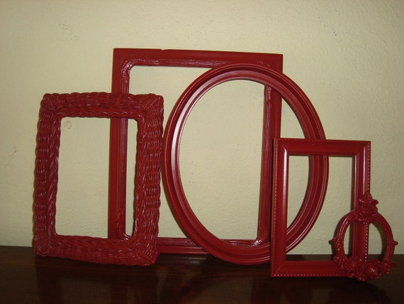 5 Shabby Cottage  Red Picture Frames