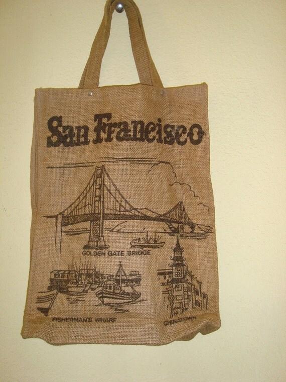 Burlap Souvenir Tote Bag San Fransisco Vintage 2ND REDUCTION