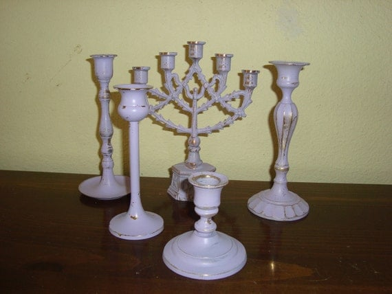 5 Shabby Cottage Chic Lavender Candlesticks  Distressed