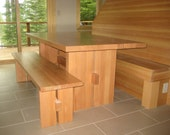 Recycled Wood Dining Bench with Trestle Style Center Brace