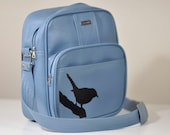 VINTAGE Blue Bag Carry On Bag Upcycled  Diaper Bag with Hand Painted Bird Silhouette