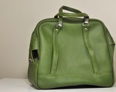 Vintage Moss GREEN American Tourister Vinyl Tote Travel Bag
