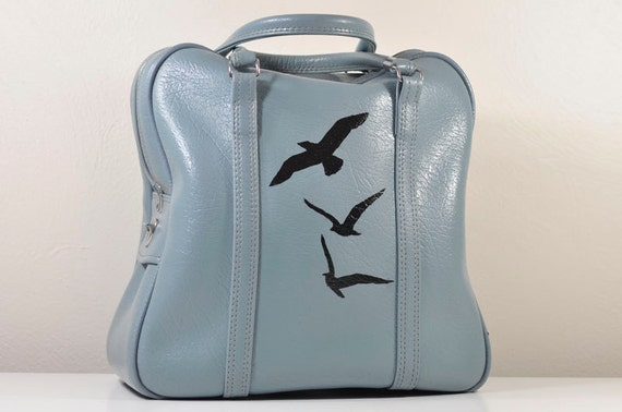 Vintage Blue Amelia Earhart Carry-On Weekender Travel Bag with Hand Painted Birds in Flight