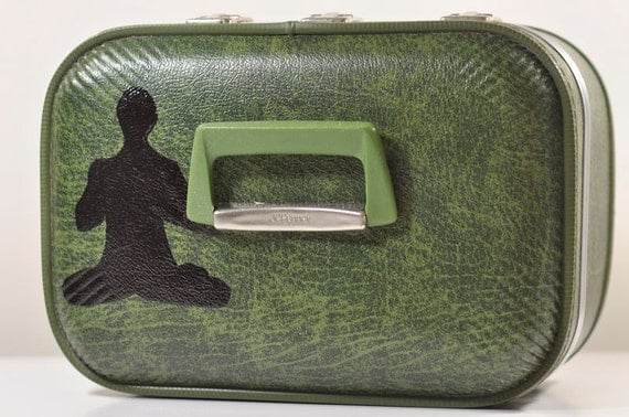 Vintage GREEN Train Case with Hand Painted Yoga Master/Yogi Silhouette