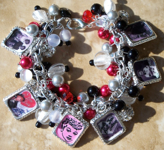 I LOVE LUCY Charm Bracelet - Inspired Altered Art - Handmade - Free2BDesigns - Chunky Cha Cha - Red, Black and Gray