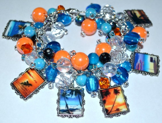 TROPICAL SUNSETS Charm Bracelet Palm Trees Dolphins Altered Art Handmade Free2BDesigns Orange and Blue