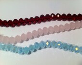 Pink, Red or Milky Blue Topaz AB Microfacted Rondelle 9x11mm