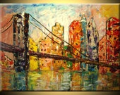 ORIGINAL Modern Large Fine art Brooklyn Bridge NYC Cityscape IMPASTO texture Palette knife Landscape oil New York Painting by IraSher
