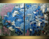 ORIGINAL Modern Abstract Blue Gray Fine Art Impasto heavy texture Palette knife oil Painting by IraSher