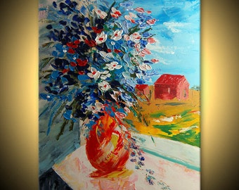 ORIGINAL Flowers Painting Fine Art Impasto heavy texture Palette knife oil Pretty Great Colors blue Bouquet  by IraSher
