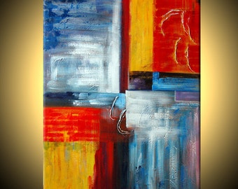 ABSTRACT ORIGINAL Modern Red Blue Large Fine Art Impasto texture knife oil 26x20 Painting by IraSher