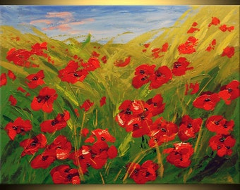 ORIGINAL Modern Landscape Poppies Field Fine Art Impasto heavy texture Palette knife oil Flowers Painting by IraSher