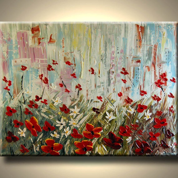 ORIGINAL Modern Large Fine Art abstract --IMPASTO TEXTURE-- Palette knife Landscape oil Flowers Painting by IraSher