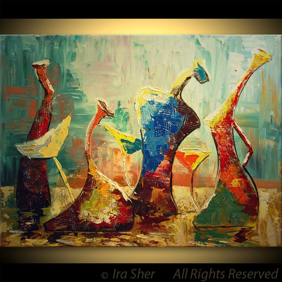 ORIGINAL Modern Large Fine art Love Impasto texture Palette knife oil Cocktail party Happy Bottles Painting by IraSher