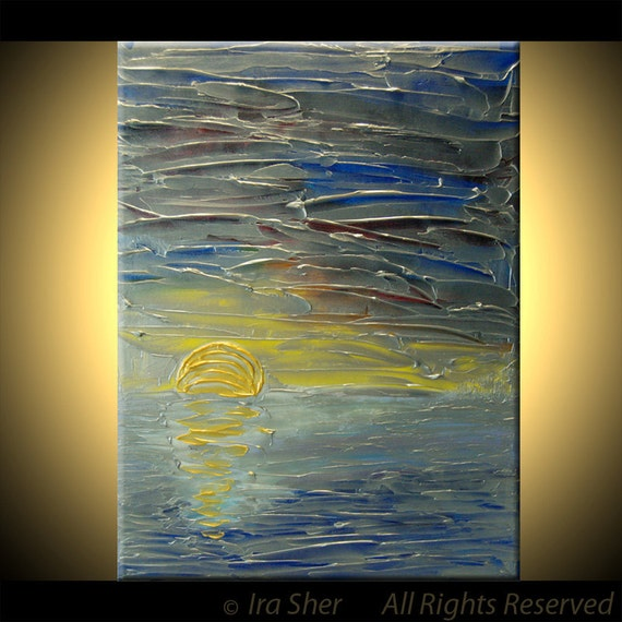 One of Kind ABSTRACT ORIGINAL Modern Landscape Silver  Blue Large Fine Art Impasto texture knife oil 18x24 Painting by IraSher