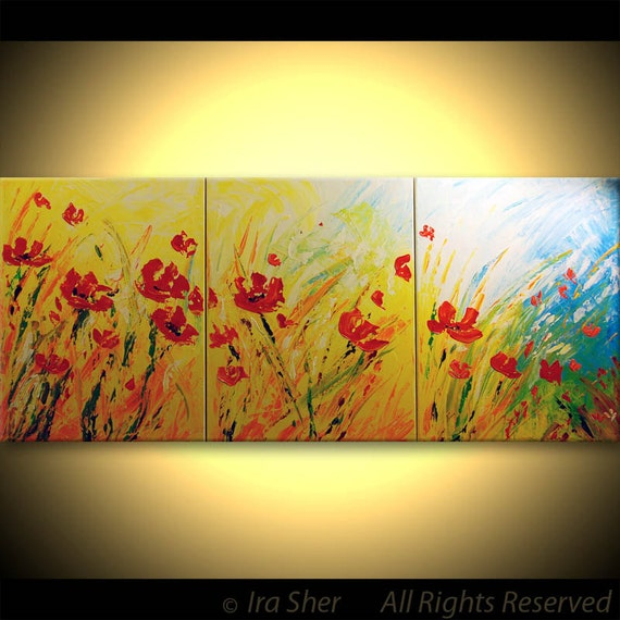 ORIGINAL Red Poppies Modern XXX Large Fine Art Impasto texture Landscape knife oil Flowers 24x54 Painting by IraSher