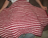 Red Crimson and White Hand-Crocheted Stained Glass Pattern Lap Robe Alabama Arkansas Stanford Rutgers Wisconsin