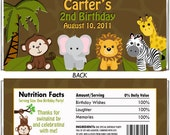 Personalized Jungle Safari Animal Birthday Party Candy Wrapper (Matches Invitation, Thank You,Water Label, Favor Tags)- Digital Print