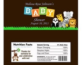 Personalized Jungle Safari Animal Baby Shower Candy Bar Wrapper (Matches Invitation, Thank You,Water Labels)- Digital Print