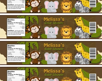 Custom Personalized Animal Safari Baby Shower Water Label Matches Invitation and Cupcake Toppers and Stickers - Digital Print