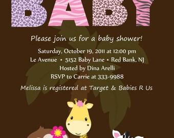 Baby Shower Invitation - Personalized Safari Animal Baby Shower Invitation  - Digital Print