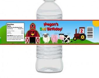 Custom Personalized Fun Barnyard Farm Birthday Party Water Bottle Labels (Matches Invitation)- Digital Print