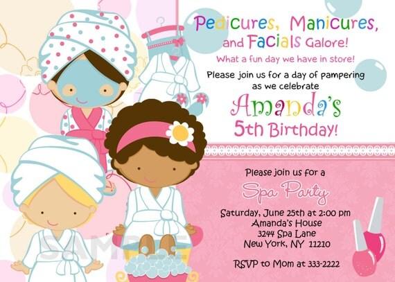 Birthday Invitation - Personalized Spa Mani Pedi Birthday Party Invitation - Digital Print