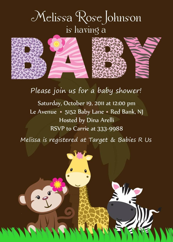 baby shower invitation personalized safari by theprintfairy