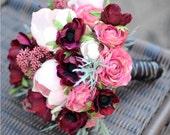 Bouquet of Anemones, Pink Ranunculus, and Magnolias