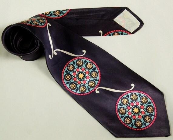 40s -Wide- Tie -Atomic- Rayon Cravat - 1940s - Mens - Necktie - Mid Century Modern