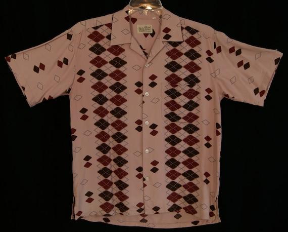 50s -M- RnR - Pink - Rayon - Rockabilly - Shirt - Atomic - Elvis - Repro - Argyle