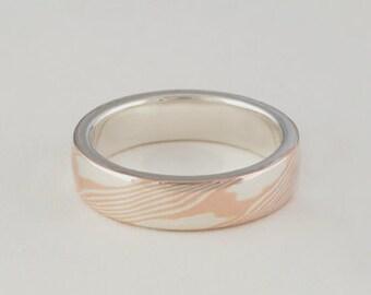 Mokume Gane Ring • Woodgrain metal Ring • Unique Wedding Bands • Custom Wedding Bands • Woodgrain Pattern - Rose Gold/Sterling Narrow band