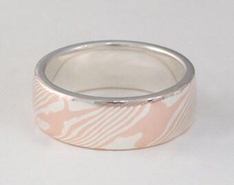 Mokume Gane Ring • Woodgrain metal Ring • Unique Wedding Bands • Custom Wedding Bands • Woodgrain Pattern - Rose Gold/Sterling Wide band