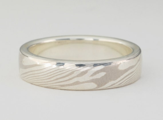 Mokume Gane Ring: White Gold and Sterling Silver, Narrow