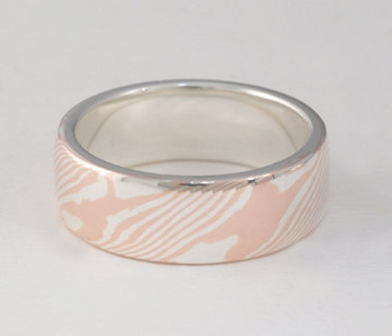 Red Gold and Sterling Silver Mokume Gane Band Ring Wide
