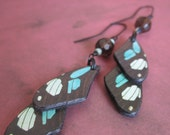 Butterfly Wing Allure - Double Layered Faux Butterfly Wings Smokey Faceted Glass and Amanzonite Beads