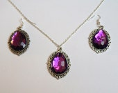 Purple Gemstone Pendant Necklace and Earrings