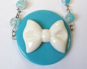 Turquoise and White Bow Necklace