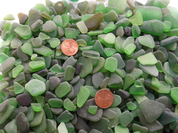 RESERVED FOR MEGAN 100 Lot Assorted Green Sea Glass Beach Glass