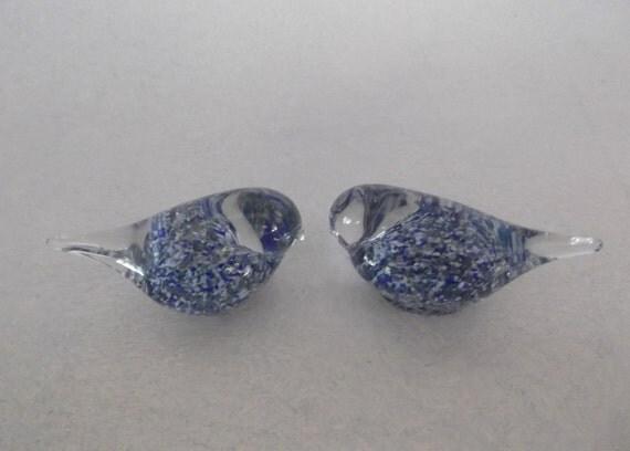 Pair Randsfjord Benny Motzfeldt Scandinavian Glass Miniature Birds