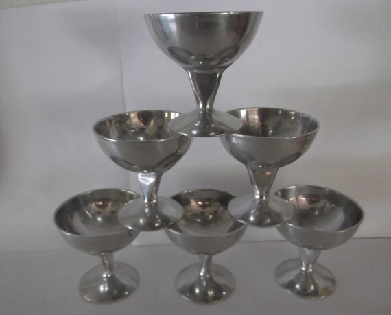 6 Harvey Aluminum Thick Flat Stemmed Cups Champagne Ice Cream Dish Sherbet Bowls