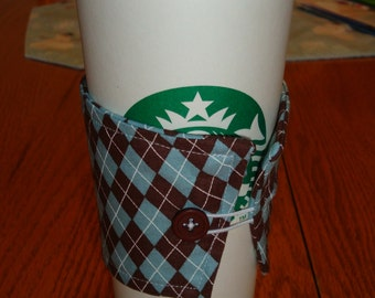 Light Blue and Brown Argyle Coffee Cup Cozy